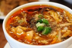 Very tasty Hot and Sour soup recipe for you, check it out!     The Chinese hot and sour soup is usually meat-based, and often contains ingredients such as day lily buds, wood ear fungus, bamboo shoots, and tofu, in a broth that is sometimes flavored with pork blood.