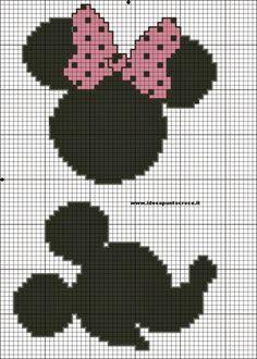 Minnie and mickey cross stitch pattern Disney Cross Stitch Patterns, Cross Stitch For Kids, Cross Stitch Baby, Cross Stitch Charts, Beaded Cross Stitch, Crochet Cross, Cross Stitch Embroidery, Disney Stitch, Silhouette Mickey