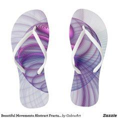 Beautiful Movements Abstract Fractal Art Pink Flip Flops