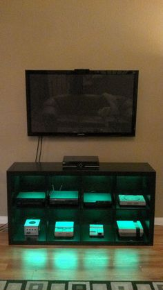 Video Game Console Cabinet with LED lights via Reddit user McGruff38