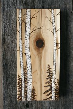 Birch Trees Art Block Wood burning by TwigsandBlossoms on Etsy