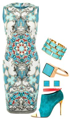 Untitled #404 by george-isaacs ❤ liked on Polyvore featuring moda, Versace, Ciner, Christian Louboutin, women's clothing, women, female, woman, misses y juniors Women's Shoes - http://amzn.to/2j5cIw2 Cocktail Dress Classy Elegant, Teal Cocktail Dress, Sophisticated Dress, Cocktail Outfit, Turquoise Dress Outfit, Turquoise Outfits, Spring Outfits, Chic Outfits, Dress Outfits