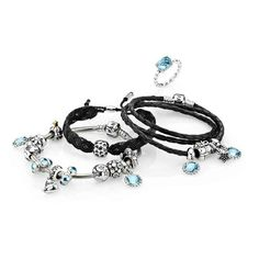 PANDORA Trio.  Black Leather,  Macrame and Silver Bracelet in Cool Ice Blue.
