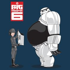 Daily T-Shirt of Hiro and Baymax from Big Hero 6 (Disney) as an Imperial Officer and a Stormtrooper (Star Wars, Lucasfilms) on TeeFizz.com!