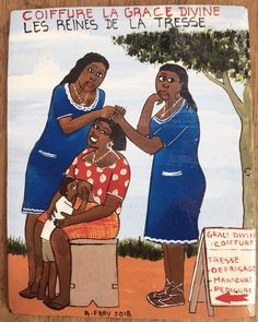 African Hair Salon, Painted Signs, Hand Painted, African Shop, Hair Today Gone Tomorrow, Salon Signs, Contemporary African Art, Salon Art, Sign Painting