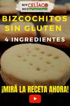 Receta de bizcochitos sin gluten, apto para celíacos. ¡Sólo necesitás 4 ingredientes!  Sencillos, ricos y económicos.  INGREDIENTES: ▪ 1 Pote de crema de leche apta para celíacos ▪ Doble cantidad de premezcla o harina sin gluten, medida en el mismo pote de la crema ▪ 1 cucharadita de polvo de hornear apto para celíacos ▪ 1 pizca de sal  #singluten #sintacc #receta #bizcochitos #recipes #glutenfree #cocinafacil #celiaquia #youtube Gluten Free Cakes, Gluten Free Desserts, Gluten Free Recipes, Sem Lactose, Coffee Time, Food Truck, Free Food, Cheesecake, Pudding