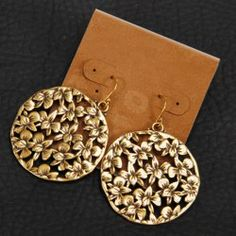 Pair of Vintage Hollow Out Floral Round Shape Earrings For Women