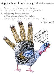 """""""Hand #Turkey Tutorial"""" - #JollyRotten #thanksgiving"""