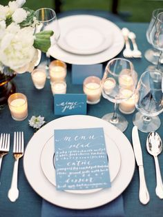 Beautiful navy blue and white tablescape.