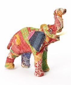 Look at this #zulilyfind! 6'' Sari Fabric Elephant Figurine by KingMax Product #zulilyfinds
