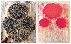 """RUBY RED ROSE"" wood blocks by Tugboat Printshop--multicolour linocuts"
