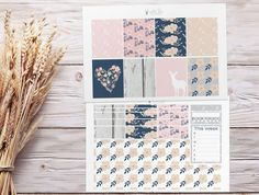 Planner Stickers Weekly Kit Floral Deer by WhiteDeerStationery