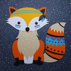 Quadrinho em scrap Raposa. Boho Fox. Woodland. Ethnic Animals. Fox Illustration, Illustrations, Painting For Kids, Art For Kids, Tribal Fox, Stitch Games, Kids World Map, Woodland Nursery Boy, Fox Art