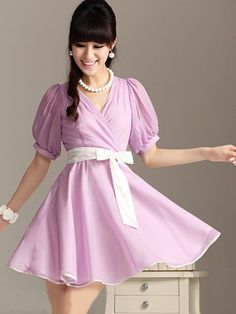 Retro Fashion V Neck Lantern Sleeve Chiffon Violet Dress