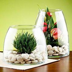 Ako spraviť váš interiér úžasný pomocou obyčajného kameňa - sikovnik.sk Terrarium Plants, Glass Terrarium, Succulent Terrarium, Planting Succulents, Planting Flowers, Terrarium Centerpiece, Glass Vase, Deco Floral, Cactus Y Suculentas