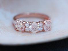 Peach sapphire anniversary ring 3 stone ring 14k by EidelPrecious