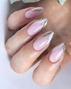 Frensh Nails, French Manicure Nails, Gold Nails, Chic Nails, Manicure E Pedicure, Classy Nails, Stylish Nails, Glitter French Nails, Gold Manicure