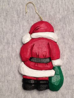 Personalized Hand Carved Handmade Santa Tree Ornament Wood Carving
