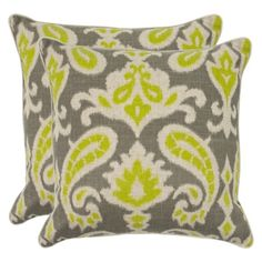 2-Pack Woven Paisley Toss Pillows (18x18) But the brown and tan, not grey and chartreuse.