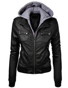 Made by Johnny Women's Double Hoodie Faux Leather Jacket M BLACK Made By Johnny http://www.amazon.com/dp/B00NH55GE0/ref=cm_sw_r_pi_dp_noywub03RDNXJ