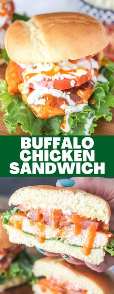 The Buffalo Chicken Sandwich is a classic staple that can easily be made at home using fresh ingredients! Done in less than 15 minutes, this sandwich is an easy dinner or lunch solution! Buffalo Recipe, Delicious Recipes, Yummy Food, Homemade Buffalo Sauce, Buffalo Chicken Sandwiches, Breakfast Snacks, Love Eat, Healthy Side Dishes, Dessert For Dinner