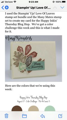 Fall Cards, Holiday Cards, Leaf Cards, Thanksgiving Cards, Stampin Up Cards, I Card, Scrapbook Pages, Color Combinations, Wedding Cards