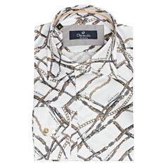 Pamuk saten üzerine baskılı erkek gömlek modeli