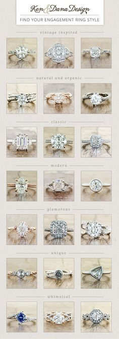 Find your engagement ring style – whether nature inspired, vintage, modern & more. by Ken & Dana Design. Find your engagement ring style – whether nature inspired, vintage, modern & more. by Ken & Dana Design. Engagement Ring Styles, Wedding Engagement, Wedding Bands, Engagement Ring Vintage, Wedding Ring Styles, Modern Engagement Rings, Engagement Ring Guide, Brillant Earth Engagement Rings, Infinity Ring Engagement