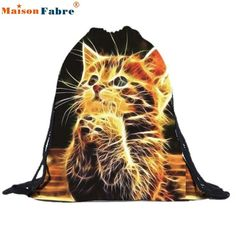 High quality Unisex Cat Backpacks 3D Printing Bags Drawstring Backpack