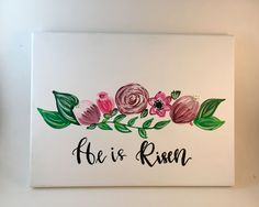 He Is Risen Bible Quote Easter Decor Hand Letter Canvas Painting Wall Art Wall Room Decor by MuseArtwork on Etsy