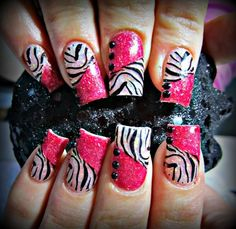 Zebra nail art is a quite popular among all animal nail arts. Here are the 9 colorful zebra nail art patterns that you can surely love and try out easily. Zebra Acrylic Nails, Zebra Nail Art, Animal Nail Art, Fingernail Designs, Nail Art Designs, Hot Nails, Hair And Nails, Nailart, Great Nails