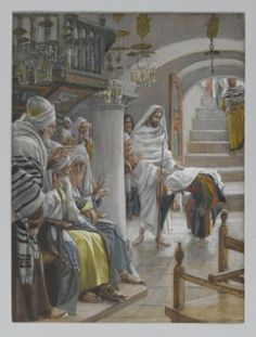 """Miracles of Jesus: Healing a Crippled Woman on the Sabbath: The painting """"Christ Healing an Infirm Woman on the Sabbath"""" (circa late 1890s) by James Tissot"""