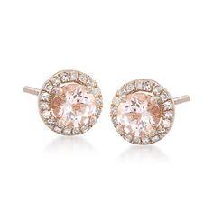 Morganite/rose gold earrings
