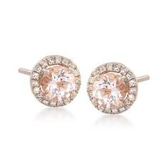 Morganite and Diamond Earrings. Who said Fall couldn't be sparkly? Go ahead and wear these earrings, the pumpkin patch won't know. >>Click on the Morganite Jewelry for more options