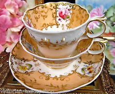 EARLY-ENGLISH-COALPORT-TEA-CUP-AND-SAUCER-c-1830-PAINTED-TRIO-TEACUP