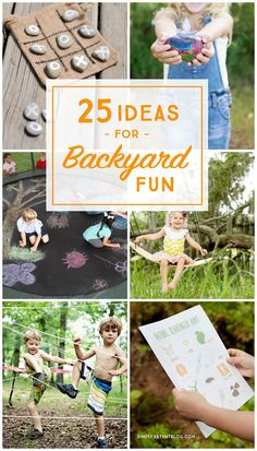 You don't have to look any further than your own backyard for some fun ways to get the kids outdoors this Spring and Summer! Here are 25 exciting and totally doable games and activities that are sure to get your kids off the couch and outside to play! Outdoor Activities For Kids, Toddler Activities, Fun Activities, Outdoor Learning, Backyard Play, Backyard Games, Fun Games, Games For Kids, Projects For Kids