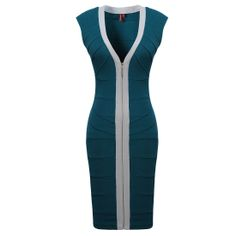 Women's Sexy V neck Zip Cocktail Party Mini Slim Bandage Bodycon Dresse  Features: Intro:Bandage Bodycon dresses Sleeveless and Sexy V-neck, More Stretch Bandage Fabric and perfect fit, Cocktail Party Dress Color:Blue Material:95%Polyester + 5%spandex Package:1 x Dress (other accessories on pictures are NOTincluded.)