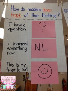 Anchor Chart: How do readers keep track of their thinking? Using sticky notes when reading. Blog post from Creating Readers and Writers: Spring Cleaning