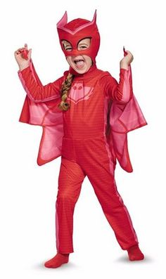 It's the right time to fight crime in a PJ Masks Owlette Costume for girls. This Owlette Costume includes a red jumpsuit, a cape, and an Owlette mask. 3t Halloween Costumes, Looks Halloween, Toddler Costumes, Halloween Fancy Dress, Disney Costumes, Girl Costumes, Halloween Kids, Trendy Halloween, Animal Costumes