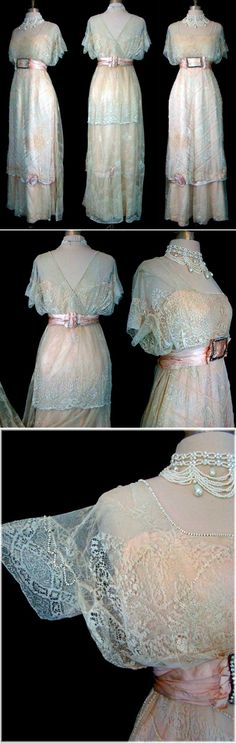 "Evening dress, Catherine Donovan, N.Y., date uncertain. Mrs. Donovan was a leading dressmaker of the ""400"" (high society). Many of her creations are in museums; the Met in N.Y. alone has 4. Peach satin w/ivory lace re-embroidered in silk. Neckline & arms decorated w/cream glass/gold-painted cut steel beads."