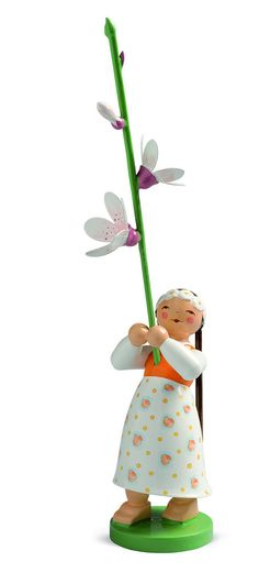 Celebrate Spring with a wonderful piece of folk art from Germany - the Girl with Cherry Blossoms - Wendt and Kühn Blossom Kinder (Flower Children) Collection - New February 2015. Wendt and Kuehn - Affordable Folk Art - Click through or find at www.mygrowingtraditions.com