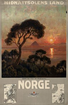 Vintage Travel Poster - Norway - Land of the Midnight Sun - Norge - Midnattsolens Land - by Thorolf Holmboe Vintage Advertisements, Vintage Ads, Retro Poster, Railway Posters, Pink Sunset, Midnight Sun, Retro Illustration, Antiques For Sale, Large Photos