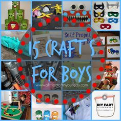 15 #Crafts for #Boys. So many crafts are geared towards girls but in reality boys enjoy arts and crafts just as much. After all their running around and playing sports with friends it is nice to come in and unwind with a little crafting!