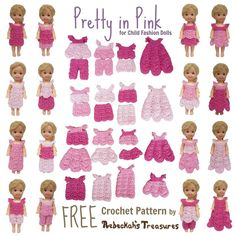 Pretty in Pink Free Crochet Pattern for Children Fashion Dolls by Rebeckah's Treasures