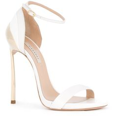 Casadei Techno Blade sandals ($819) ❤ liked on Polyvore featuring shoes, sandals, pink sandals, casadei sandals, casadei, white shoes and pink white shoes