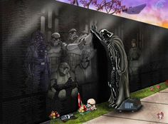Darth Vader pays tribute to the fallen at the Star Wars memorial Darth Vader Star Wars, Anakin Vader, Anakin Skywalker, Star Wars Fan Art, Star Wars Wallpaper, Wallpaper Backgrounds, Desktop Wallpapers, Remember The Fallen, Character Design