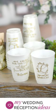 Elegant White Frosted Wedding Cups - Dishwasher safe shatterproof color frosted plastic wedding cups personalized with geometric wedding wreath design and 2 additional lines of custom print. Wedding Plastic Cups, Wedding Cups, Wedding Favors, Wedding Gifts, Wedding Stuff, October Wedding, Fall Wedding, Our Wedding, Wedding Ideas