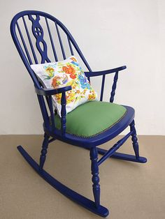 FULLY RESTORED and reupholstered vintage rocking chair, Blue vintage Windsor rocking chair