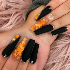 Halloween Acrylic Nails, Bling Acrylic Nails, Acrylic Nails Coffin Short, Summer Acrylic Nails, Best Acrylic Nails, Black Matte Acrylic Nails, Black Coffin Nails, Summer Nails, Edgy Nails
