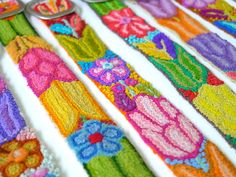 Wool embroidered belt Brights On Yellow Red Pink by EmbroideryPeru